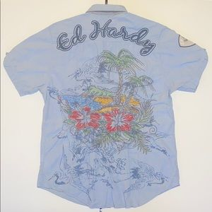 Ed Hardy Embroidered Men's Short Sleeve Button up